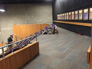Style: Unscripted  Color: Talk Show - Carpet Tile Installation at Mount Wachusett Communtiy College Auditorium